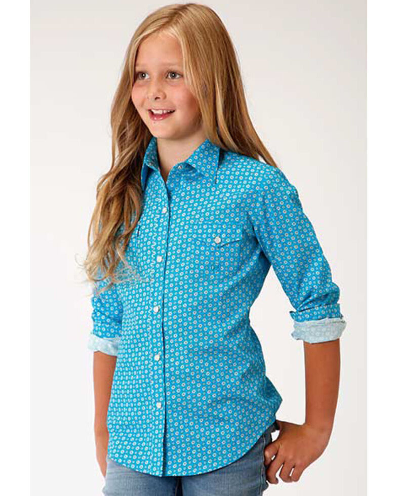 Amarillo Girls' Geo Core Long Sleeve Western Shirt , Turquoise, hi-res