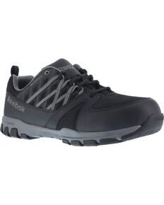 Reebok Women's Athletic Oxford Sublite Work Shoes - Soft Toe , Black, hi-res