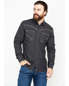 Rock 47 by Wrangler Men's Black Diamond Print Long Sleeve Western Shirt, Black, hi-res