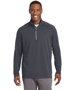 Sport Tek Men's Iron Grey Sport Wick Textured 1/4 Zip Pullover Work Sweatshirt , Steel, hi-res