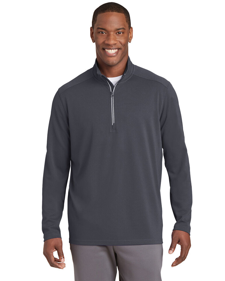 Sport Tek Men's Iron Grey Sport Wick Textured 1/4 Zip Pullover Work Sweatshirt , Steel, hi-res