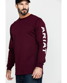 Ariat Men's FR Electric Graphic Long Sleeve Work T-Shirt - Tall , Grape, hi-res