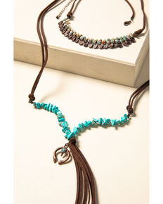 Shyanne Women's Willow Moon Beaded Tassel Necklace, Rust Copper, hi-res