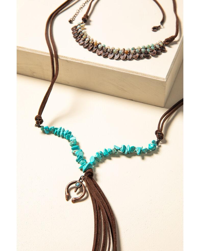 Shyanne Women's Willow Moon Beaded Tassel Necklace, Rust Copper, hi-res