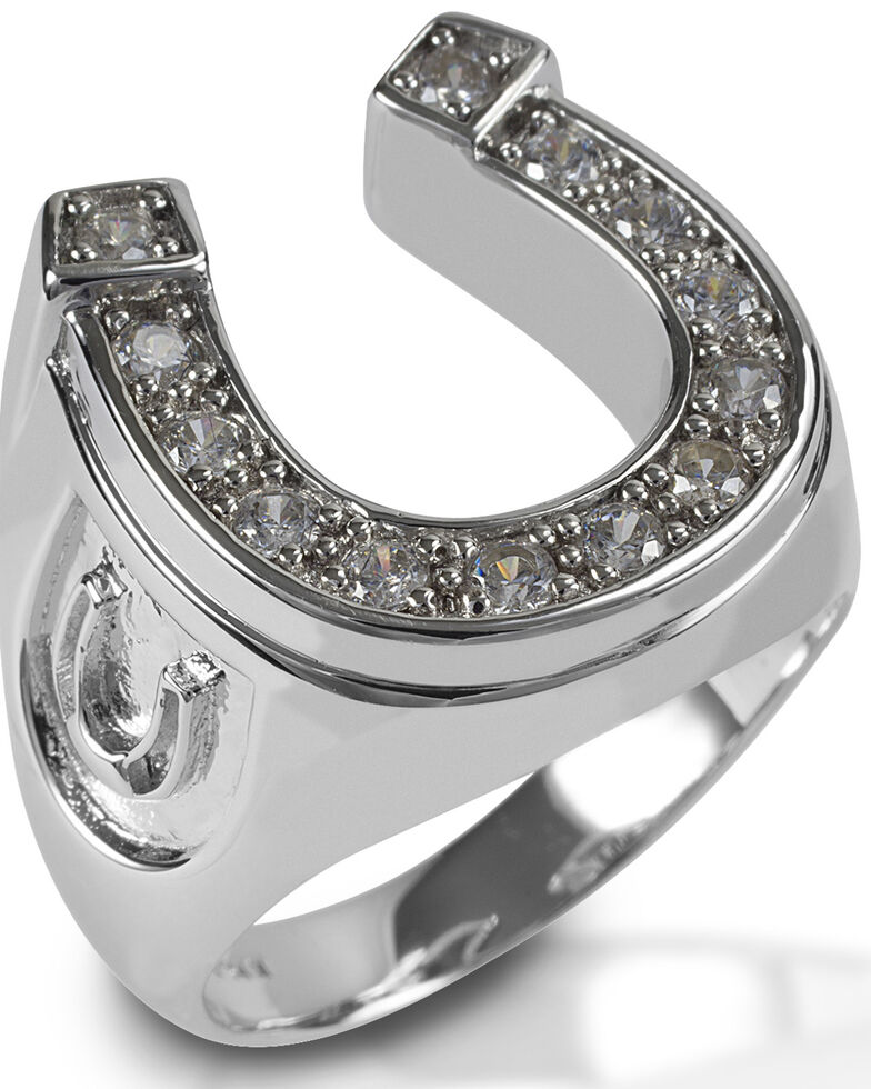 Kelly Herd Men's Horseshoe Ring , Silver, hi-res