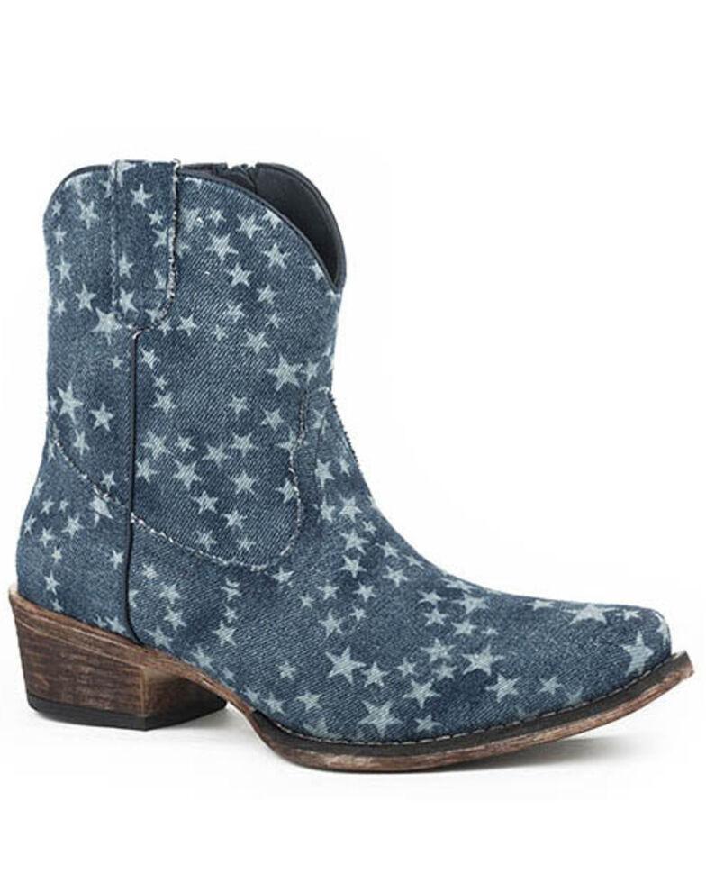 Roper Women's All Over Stone Wash Denim Western Booties - Snip Toe, Blue, hi-res