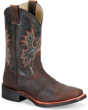 "Double-H Men's 11"" Square Toe Western Boots, Brown, hi-res"
