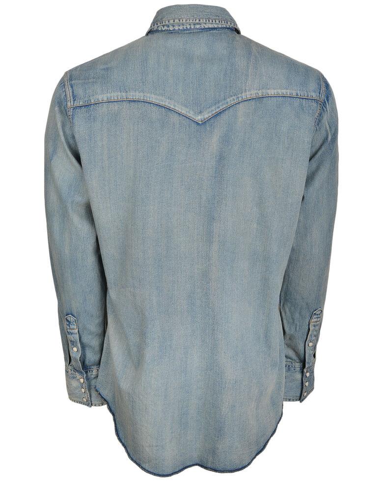 STS Ranchwear Men's Mcrea Denim Washed Long Sleeve Western Shirt , Blue, hi-res