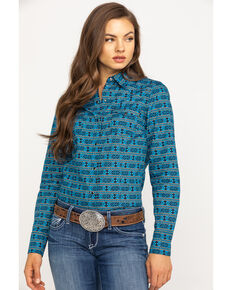 West Made Women's Hex Aztec Long Sleeve Western Shirt, Blue, hi-res