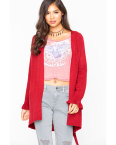Miss Me Women's Pointelle Bell Sleeve Cardigan, Burgundy, hi-res