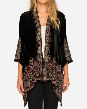 Johnny Was Women's Aspen Velvet Draped Cardigan, Black, hi-res