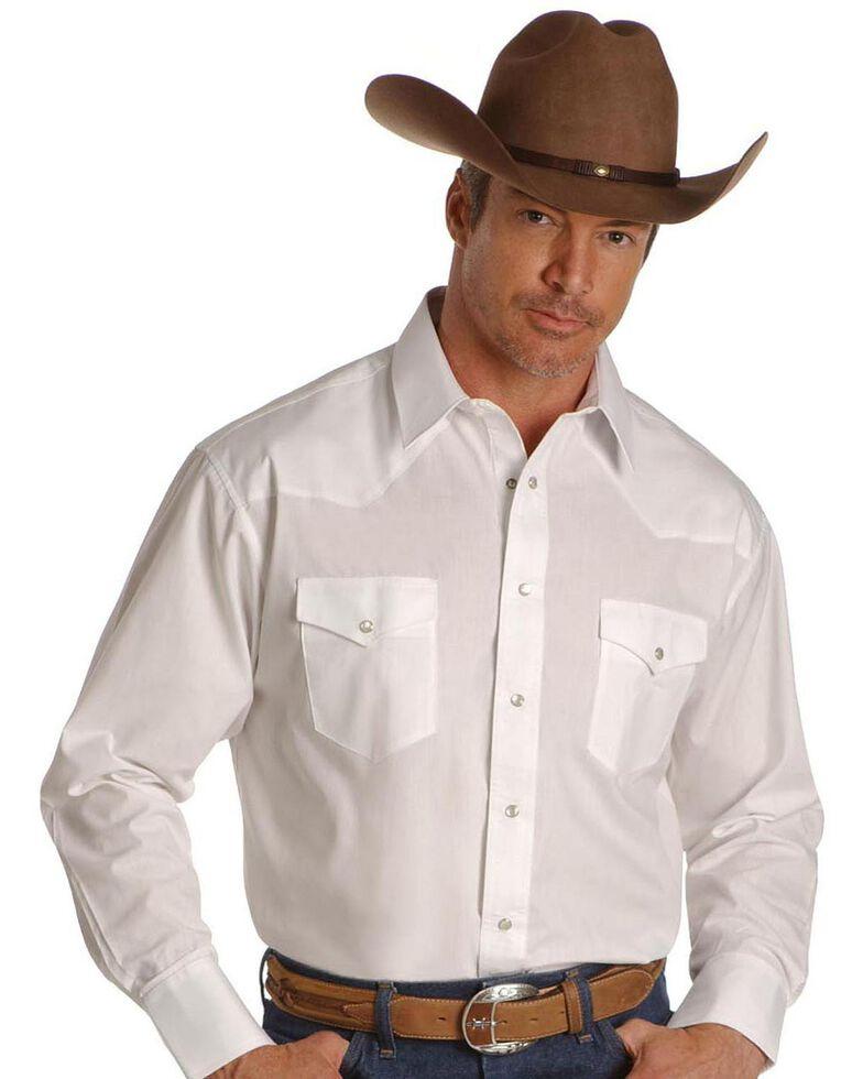 Wrangler Men's White Solid Broadcloth Long Sleeve Western Shirt , White, hi-res