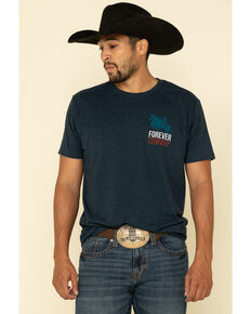 Cody James Men's Short Sleeve Forever Cowboy Graphic T-Shirt, Blue, hi-res