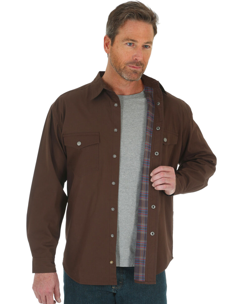 Wrangler Men's Navy Riggs Workwear Flannel Lined Ripstop Shirt Jacket, Chocolate, hi-res
