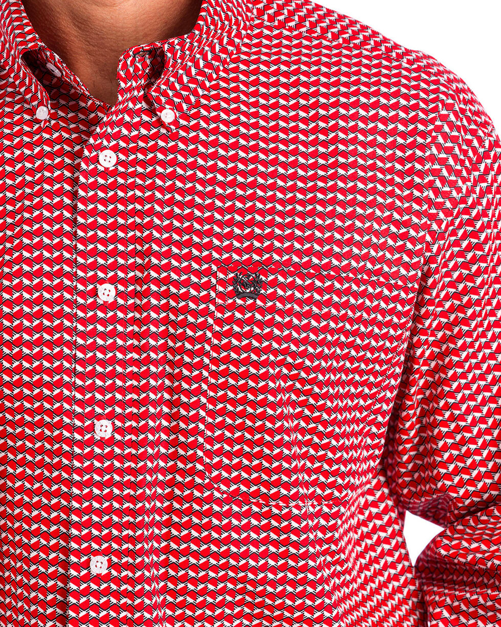 Cinch Men's Red Hexagon Print Western Shirt , Red, hi-res