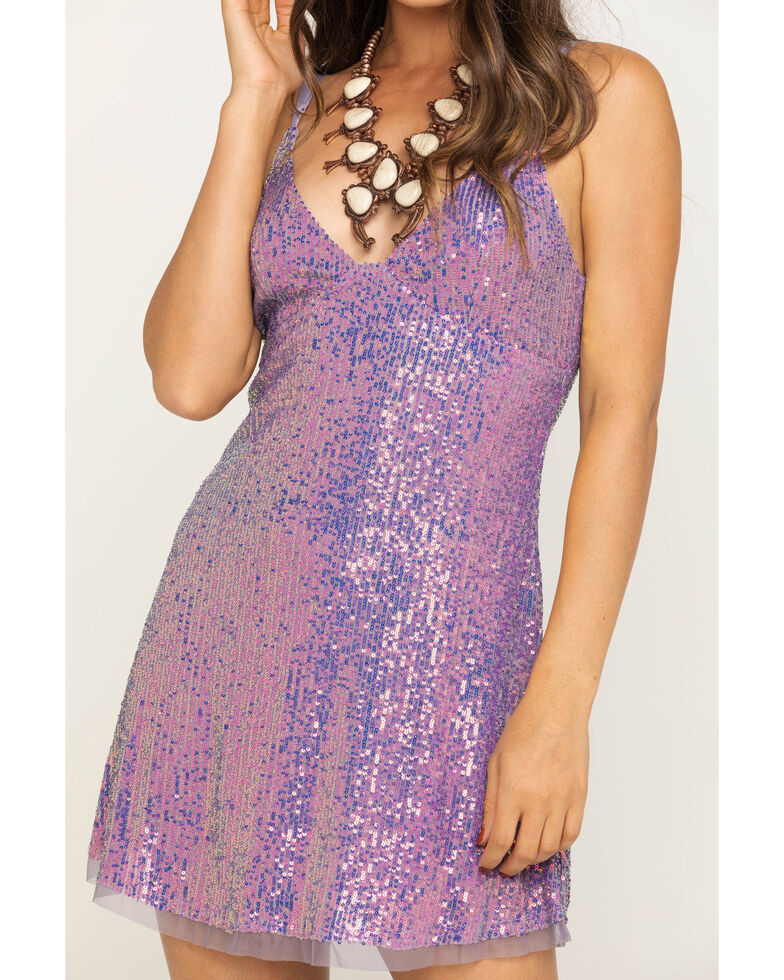 Free People Women's Gold Rush Mini Dress, Light Purple, hi-res