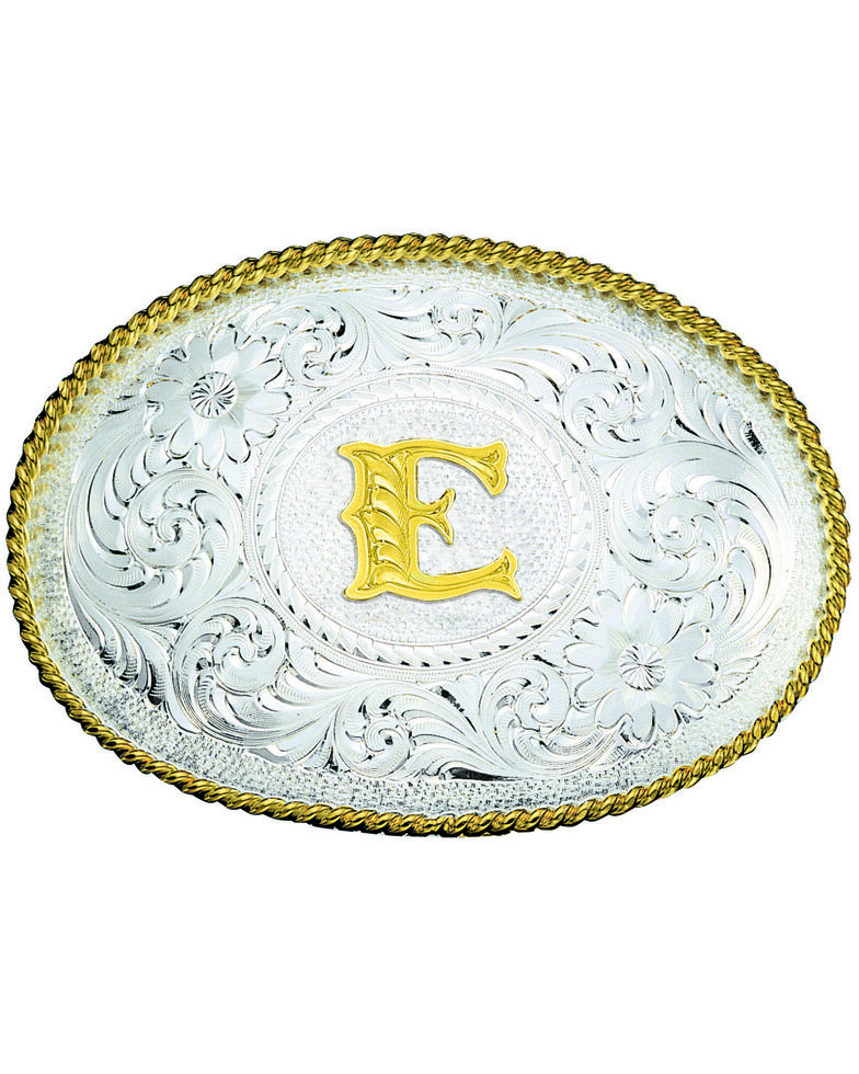 Montana Silversmiths Engraved Initial E Western Belt Buckle, Multi, hi-res