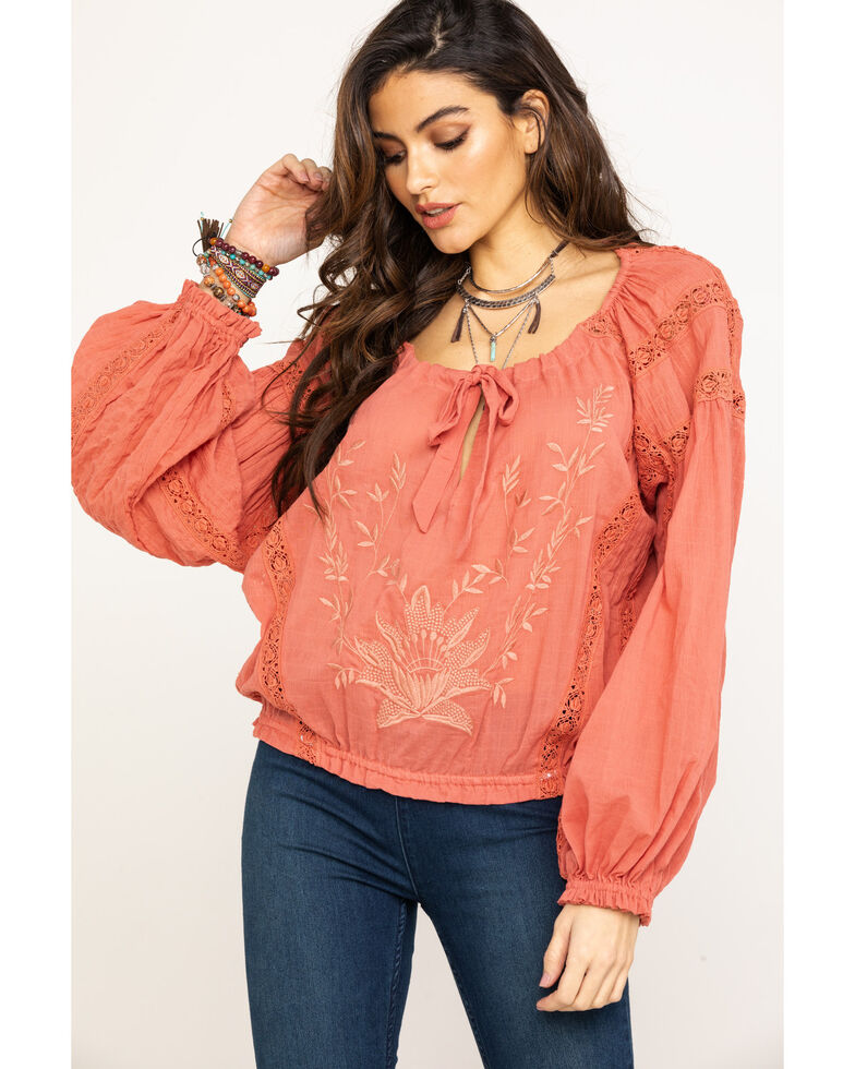 Free People Women's Maria Maria Lace Blouse, Rose, hi-res