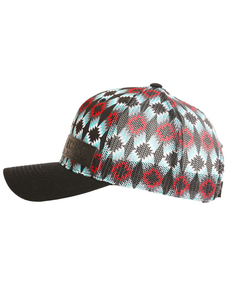Rock & Roll Cowboy Men's All Allover Aztec Geometric Mesh Cap, Black, hi-res