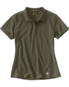 Carhartt Women's Contractor's Short Sleeve Work Polo , Grey, hi-res