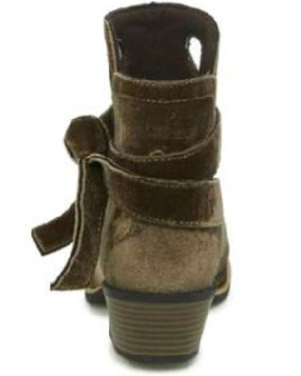 Justin Women's Velvet Tie-Off Booties - Square Toe, Brown, hi-res