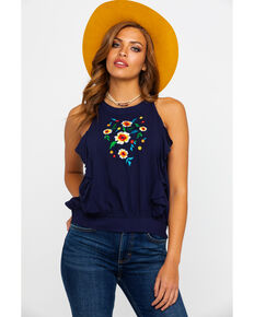 Red Label by Panhandle Women's Floral Embroidered Halter Top, Navy, hi-res