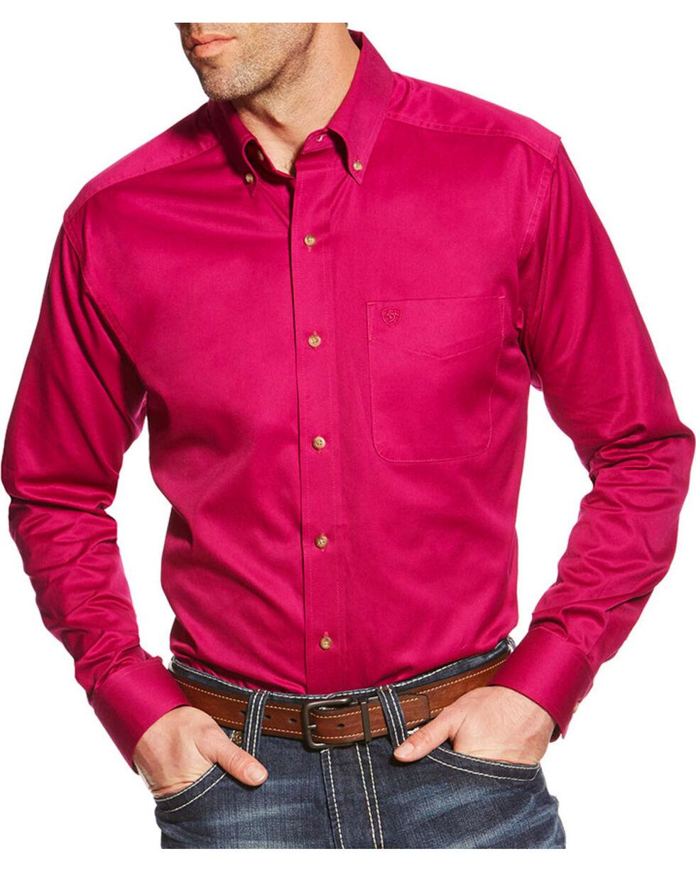 Ariat Men's Solid Pocket Long Sleeve Shirt, Violet, hi-res