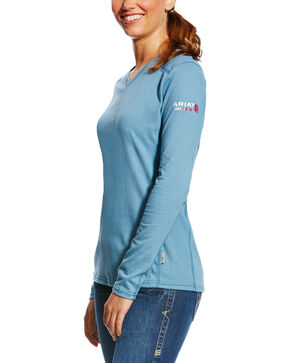 Ariat Women's FR AC Top , Steel Blue, hi-res