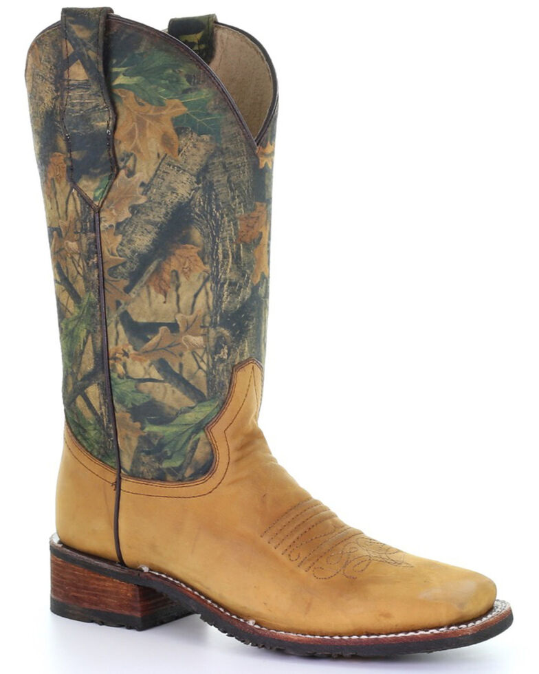 Circle G Women's Yellow Camo Print Rubber Western Performance Boots - Square Toe, Yellow, hi-res