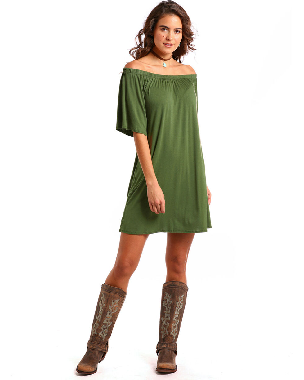 Panhandle Women's Olive Off The Shoulder Swing Dress, Olive, hi-res