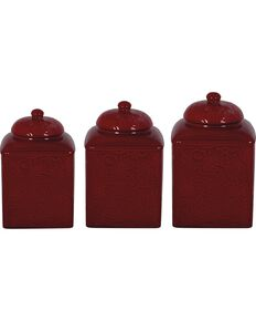 HiEnd Accents Savannah 3-Piece Canister Set, Red, hi-res
