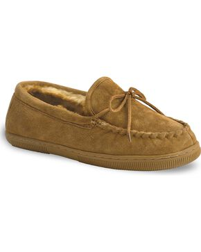 Chestnut Men's Leather Moccasin Slippers, Chestnut, hi-res