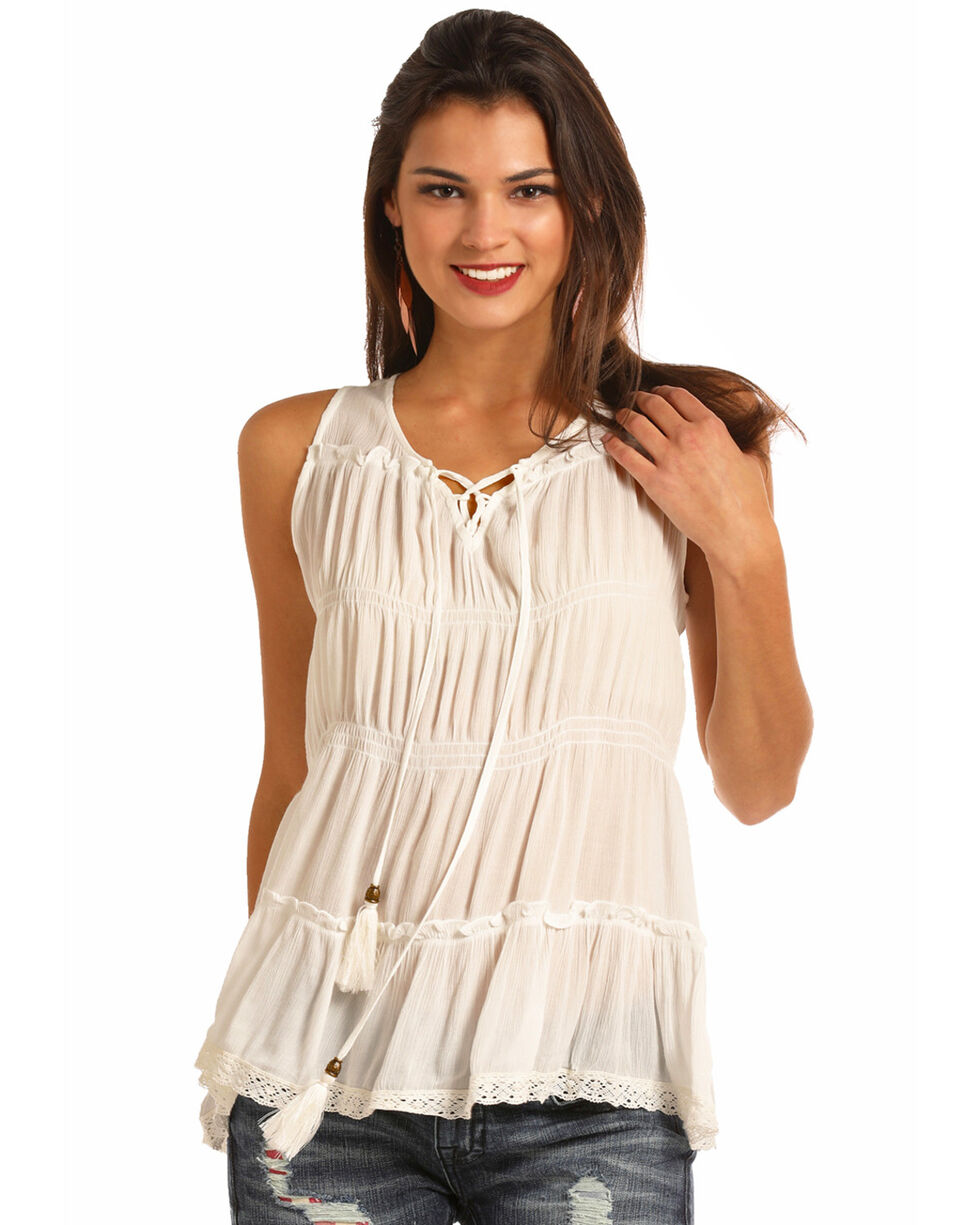 Rock & Roll Cowgirl Women's Tired Lace Tank , White, hi-res