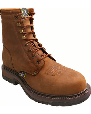 """Twisted X Distressed 8"""" Lite Cowboy Work Lace-Up Boots - Steel Toe , Distressed, hi-res"""