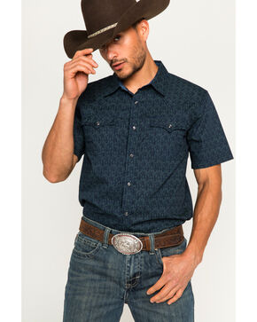 Cody James Men's Scorpion Navy Short Sleeve Western Snap Shirt, Navy, hi-res
