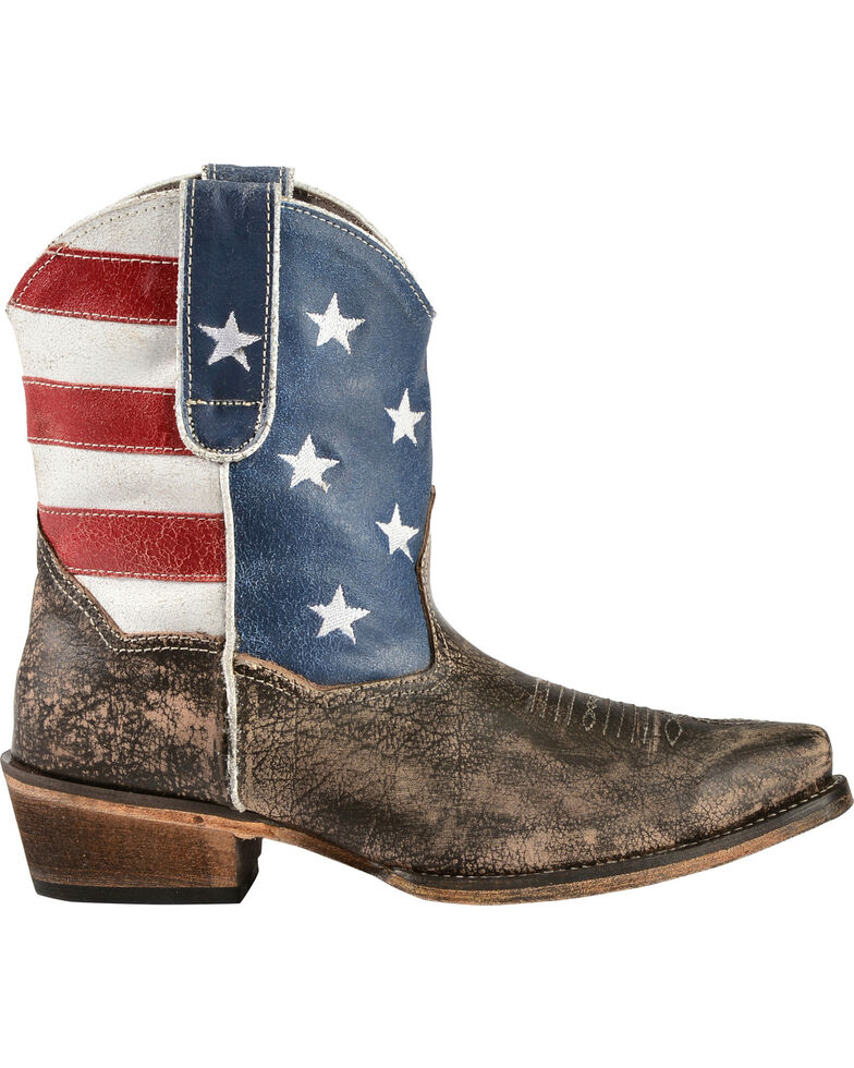 Roper Women's American Beauty Flag Ankle Boots, Brown, hi-res