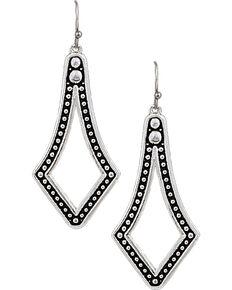 Montana Silversmiths Western Lace Diamond Teardrop Earrings, Silver, hi-res