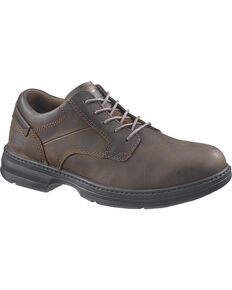CAT Men's Steel Toe Oversee Oxford Work Shoes, Dark Brown, hi-res