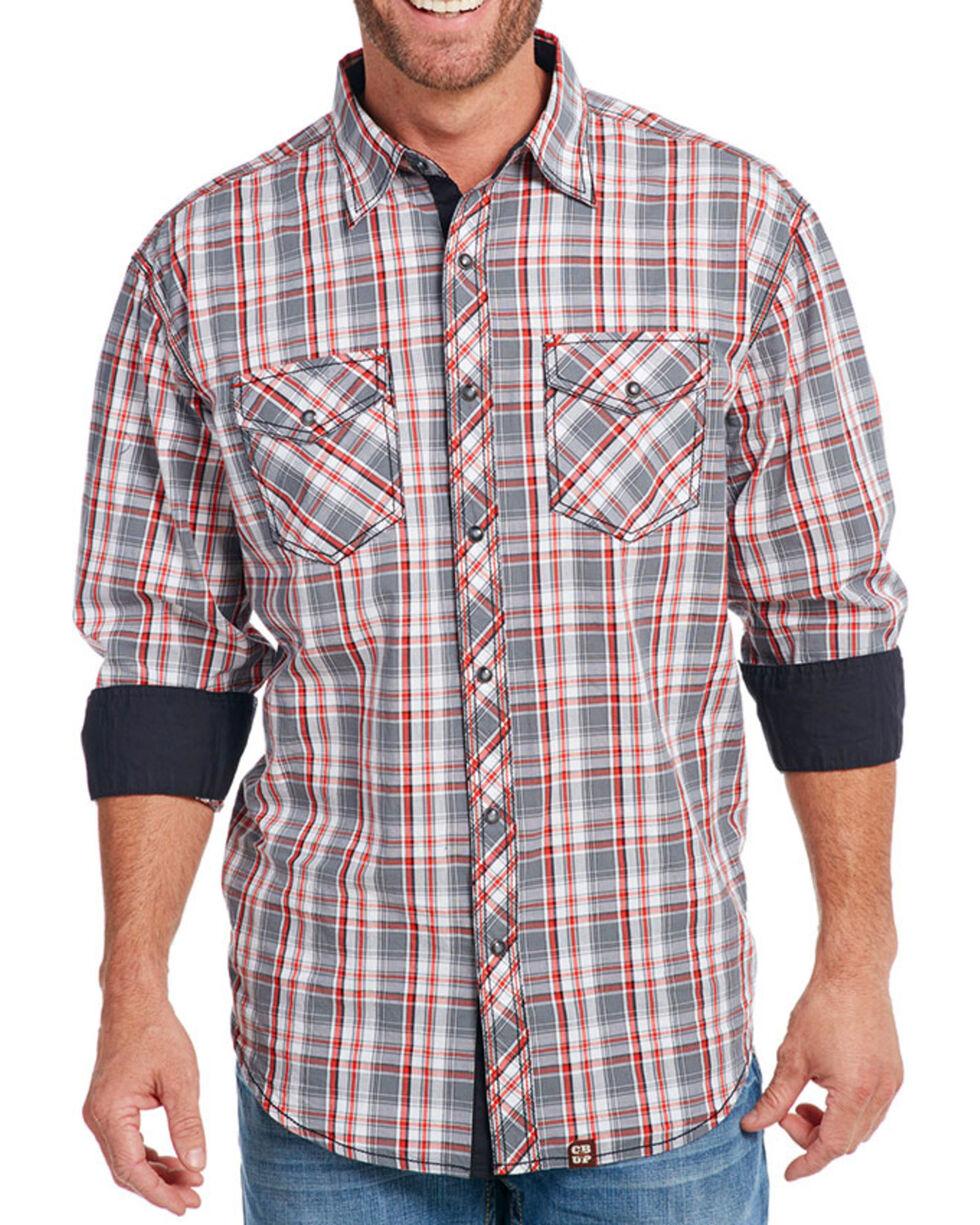 Cowboy Up Men's Plaid Long Sleeve Western Shirt, Grey, hi-res
