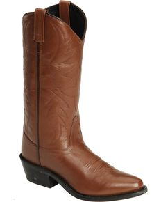 Old West Smooth Leather Cowboy Boots - Medium Toe, Tan, hi-res