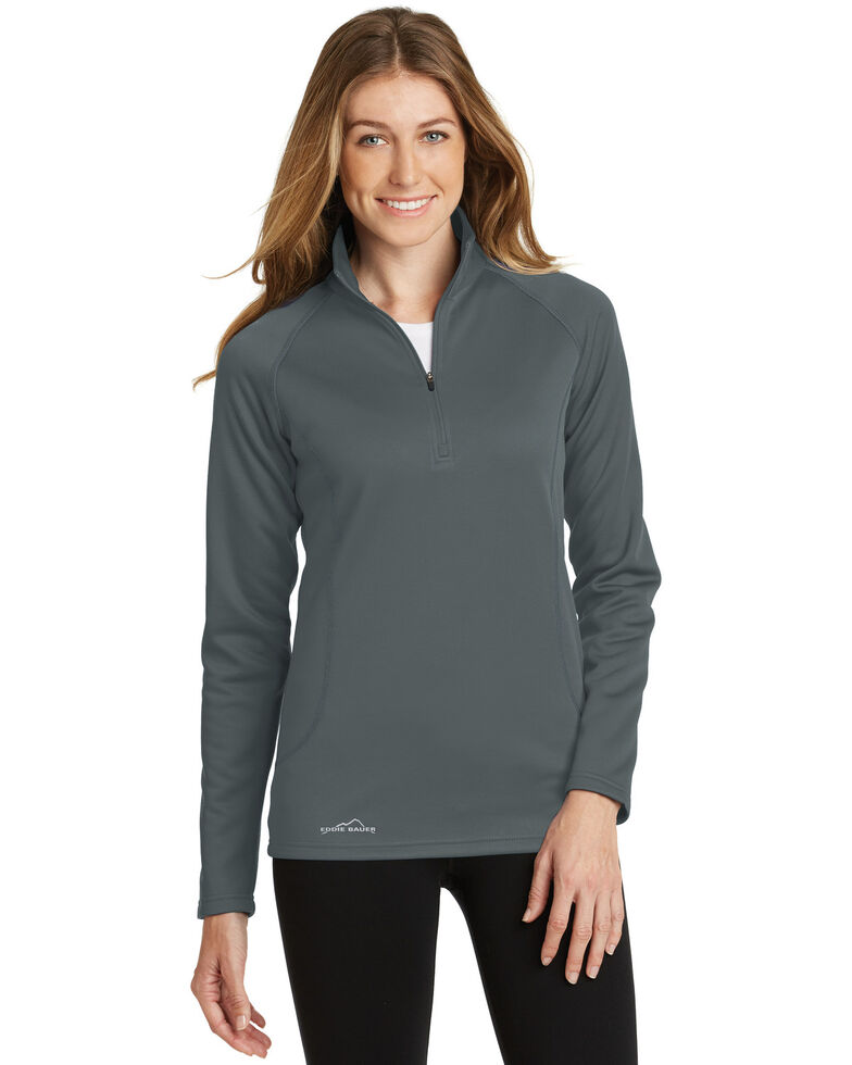 Eddie Bauer Women's Iron Gate 2X Smooth Fleece 1/2 Zip Base Layer - Plus, Grey, hi-res