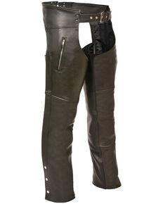 Milwaukee Leather Men's Black Zippered Thigh Pocket Chaps - 4X, Black, hi-res