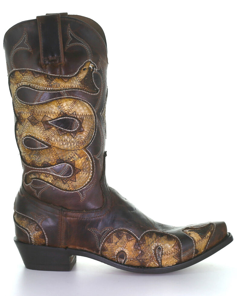Corral Men's Honey Snake Inlay Western Boots - Snip Toe, , hi-res