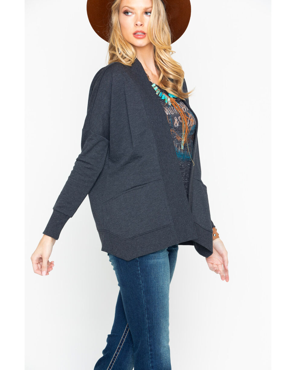 Shyanne Women's Lace Up Back Cardigan , Charcoal, hi-res