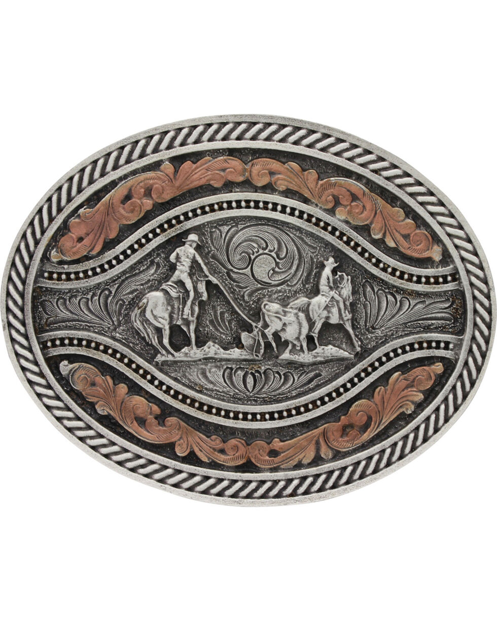 Montana Silversmiths Men's Team Roper Classic Two Tone Attitude Channel Belt Buckle, Silver, hi-res
