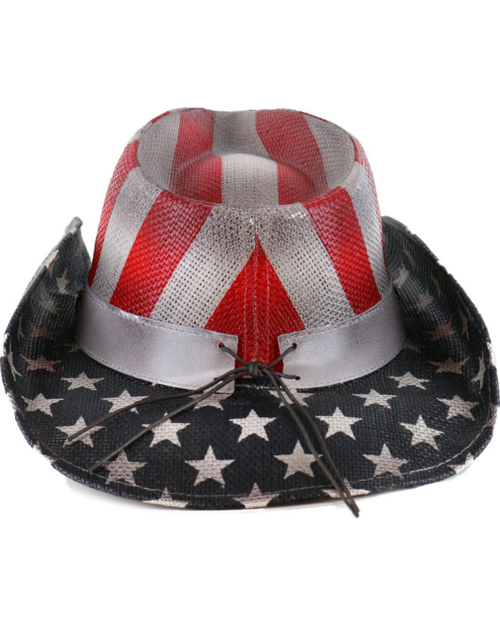 Cody James®  Men's Justice Straw Hat, Red/white/blue, hi-res