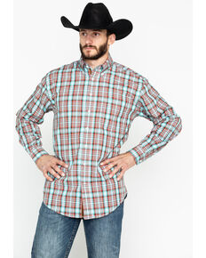 Panhandle Men's Randolph Vintage Ombre Plaid Long Sleeve Western Shirt , Aqua, hi-res