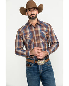 Pendleton Men's Navy Frontier Large Plaid Long Sleeve Western Shirt , Navy, hi-res