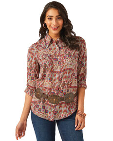 Wrangler Women's Rust Aztec Tile Print Snap Long Sleeve Western Top, Rust Copper, hi-res