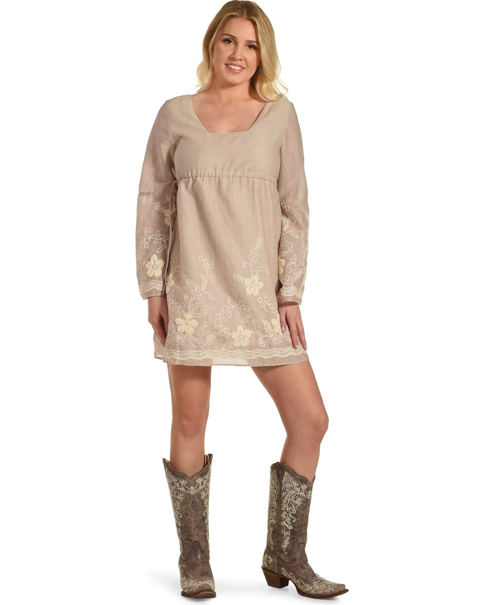 Young Essence Women's Floral Embroidered Long Sleeve Dress, Taupe, hi-res